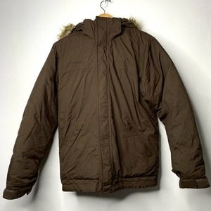 Columbia Winter Down Feather Coat Fur Hood Brown